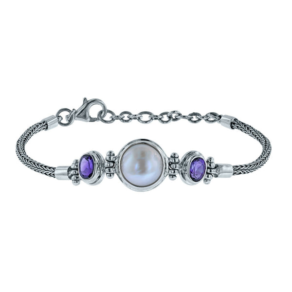 Precious Mabe Pearl and Amethyst Bracelet