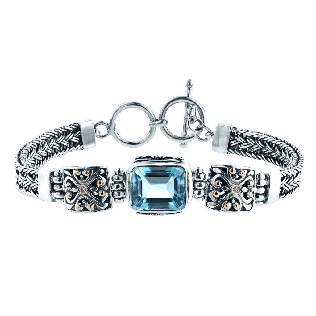 Diamond Skies Blue Topaz Bracelet with Diamond Accents