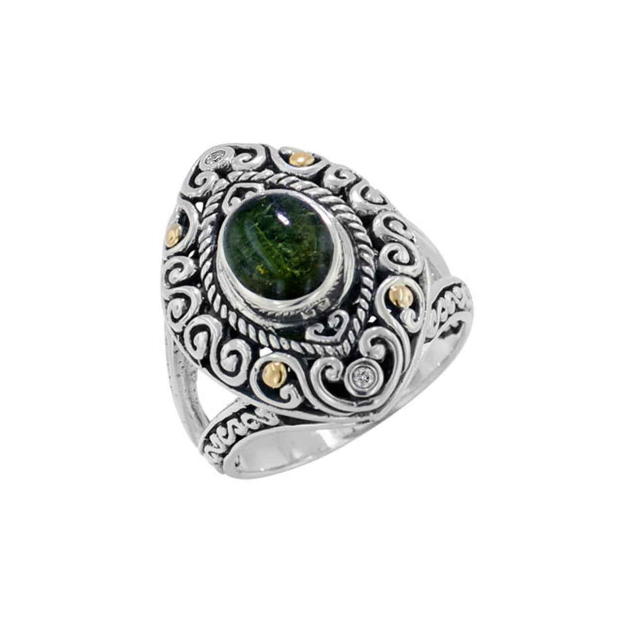 Scrollwork Deep Green Tourmaline and Diamond Ring