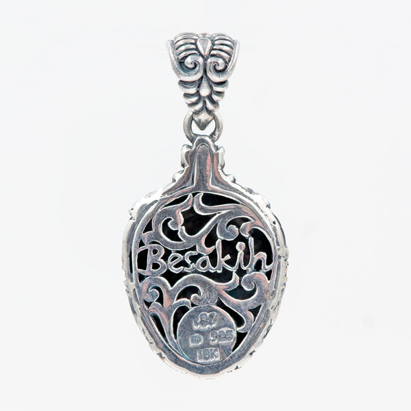 Bali Sterling Silver Besakih Temple Amulet Pendant with 18K Gold Accents