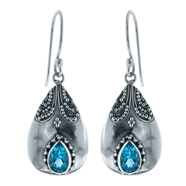 Beaded Bliss Blue Topaz Earrings