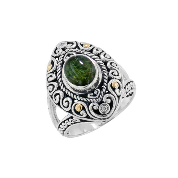 Scrollwork Forest Green Tourmaline and Diamond Ring