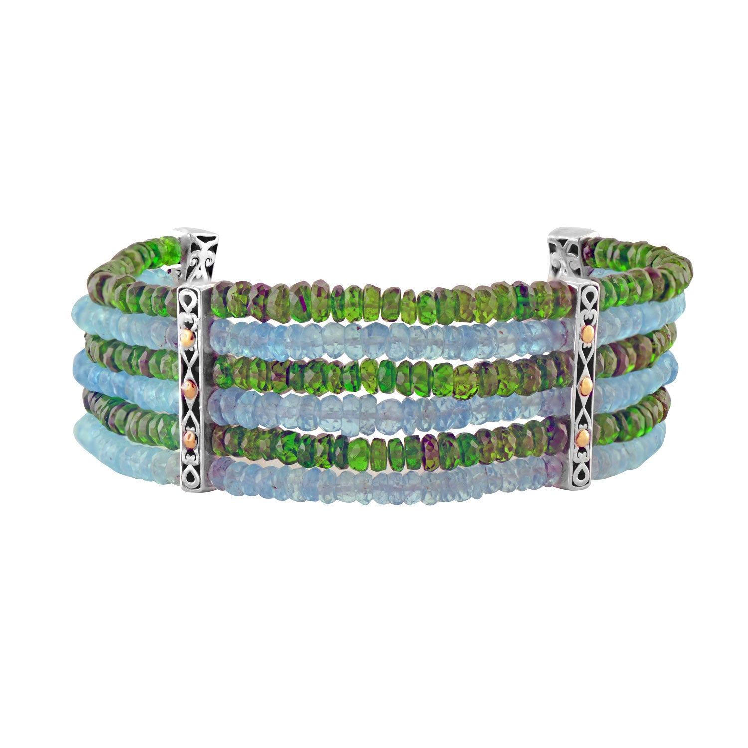 Six Strand Beaded Bracelet Chrome Diopside and Neon Apatite Silver Gold