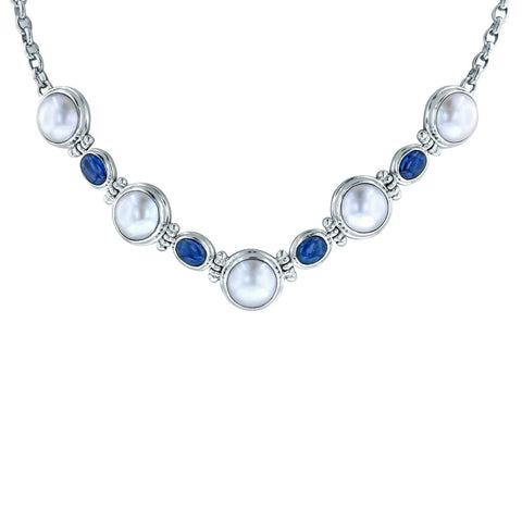 Moon and Stars Mabe Pearl and Kyanite Necklace