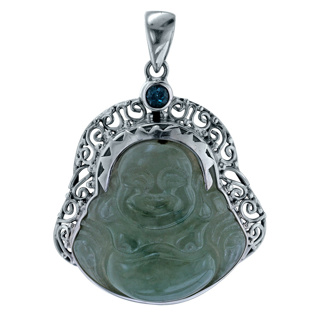 Carved Jade and Blue Topaz Buddha Pendant on Chain
