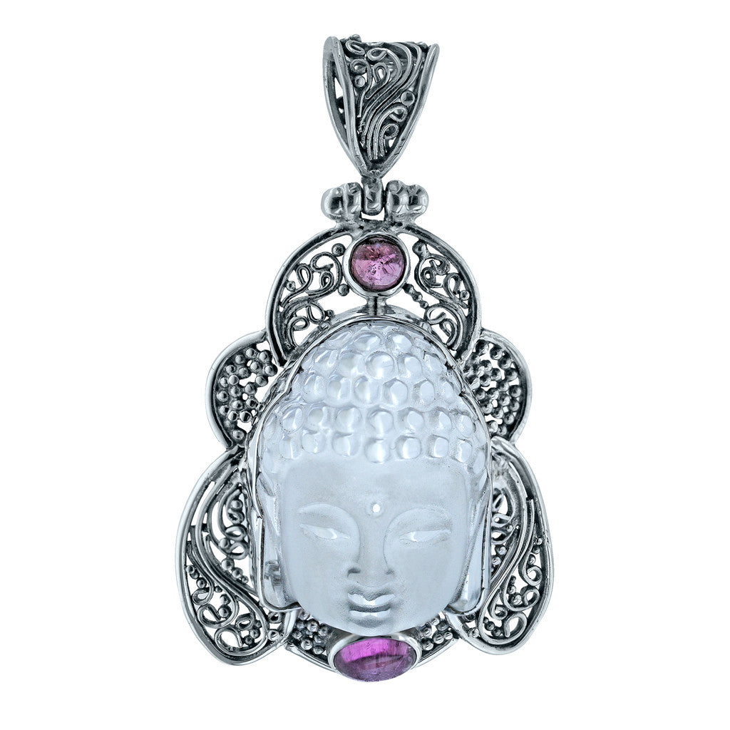 Calm Siddhartha Buddha Quartz and Tourmaline Pendant