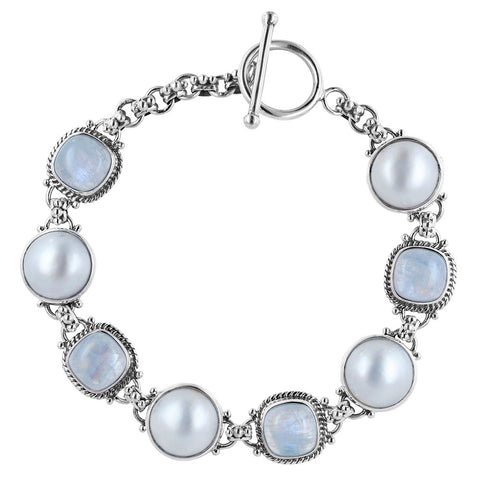 Silver Bracelet with Moonstone and Mabe
