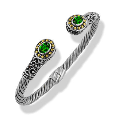Sterling Silver Gold Chrome Diopside Green Gemstone Bali Hinged Cuff Bracelet