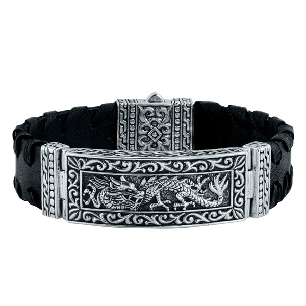 Black Leather Dragon Cuff