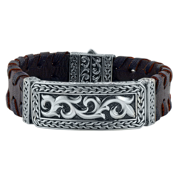 Filigree Brown Leather Cuff
