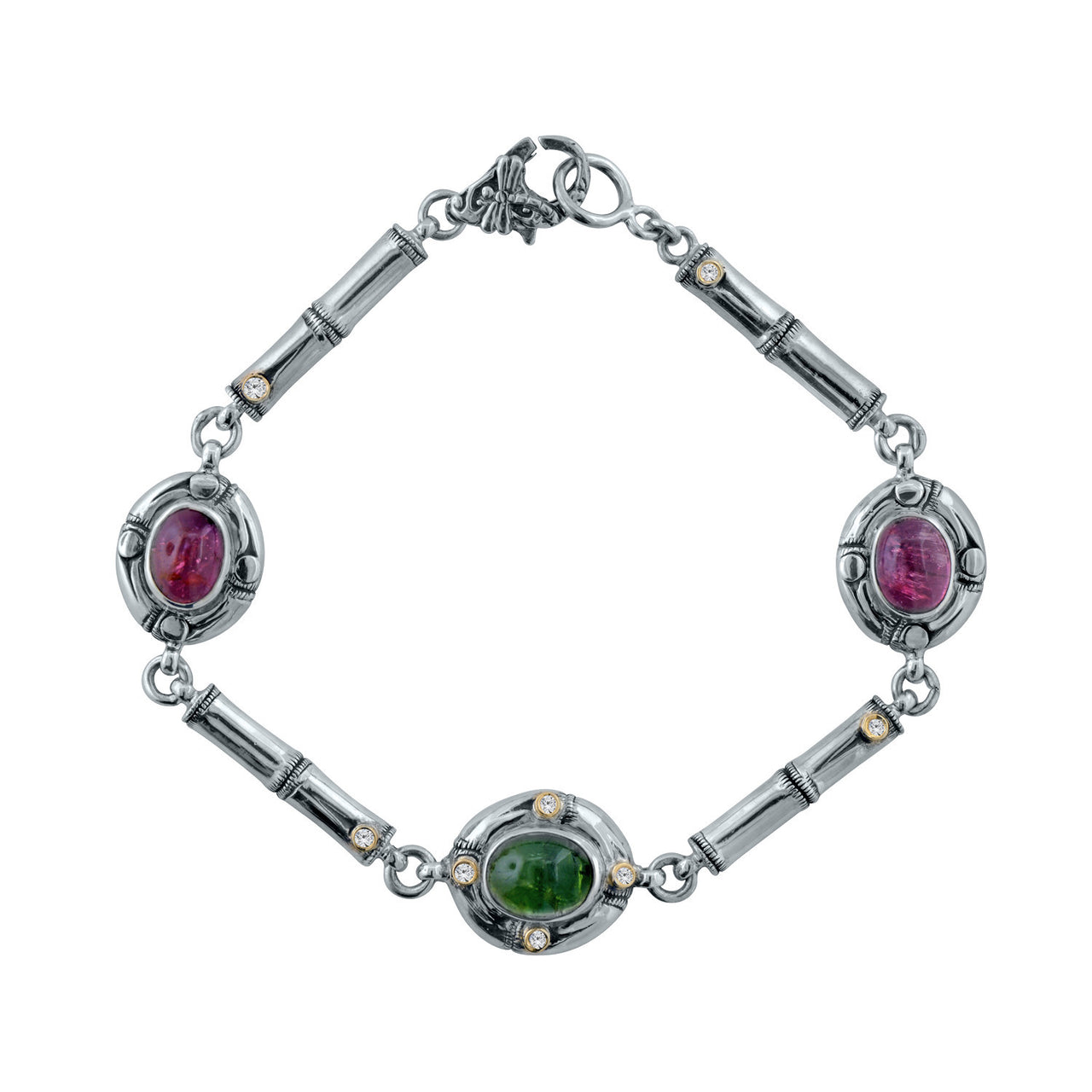 Pink and Green Tourmaline and Diamond Bamboo Link Bracelet