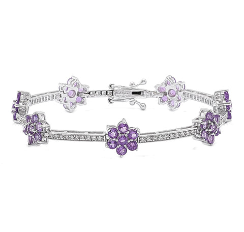 Amethyst Flower Silver Station Bracelet with White Topaz