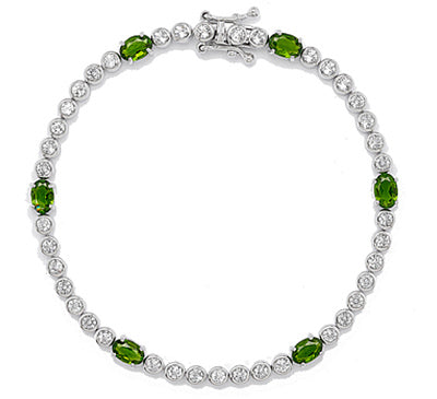 White Topaz and Chrome Diospisde Silver Tennis Bracelet