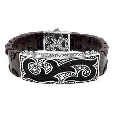 Bold Brown Leather Tribal Cuff
