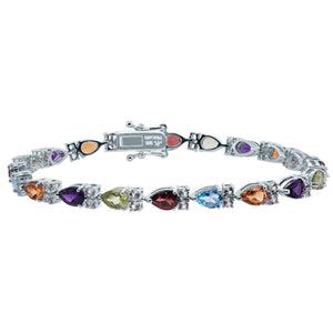 Multi Color Pear Shaped Gemstone Silver Bracelet with White Topaz Accents
