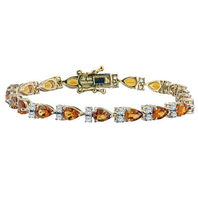 Pear Shaped Citrine 14K Gold Vermeil Bracelet with White Topaz Accents