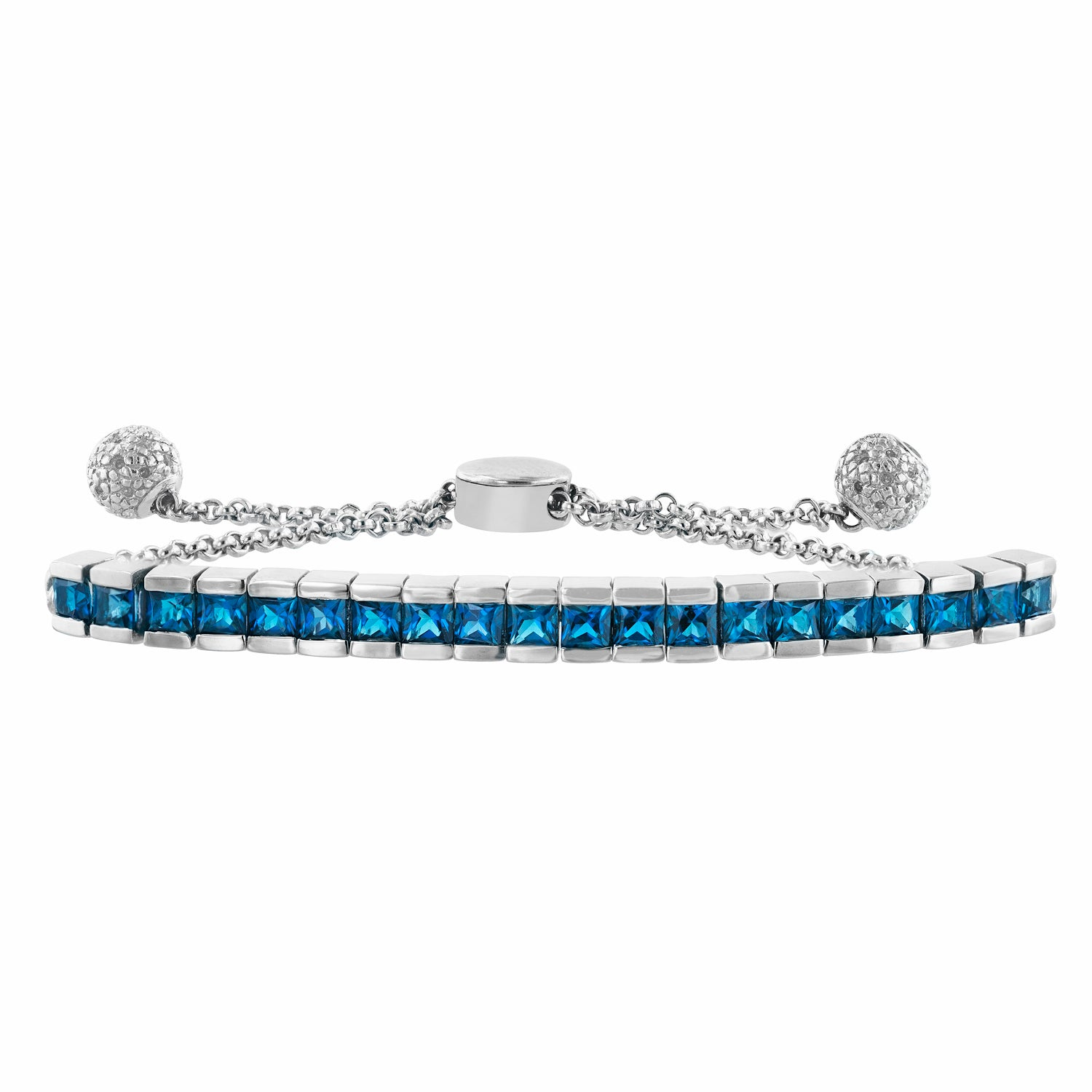 London Blue Topaz Adjustable Channel Gemstone Bolo Bracelet