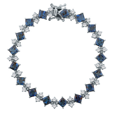 London Blue and White Topaz Silver Bracelet