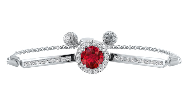 Round Ruby Bolo Bracelet with White Topaz Accents
