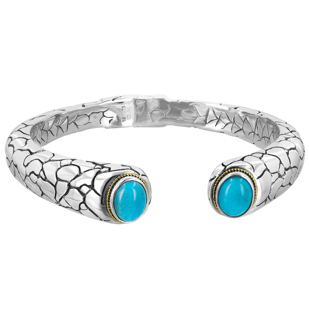 Crocodile Pattern Bracelet with Turquoise