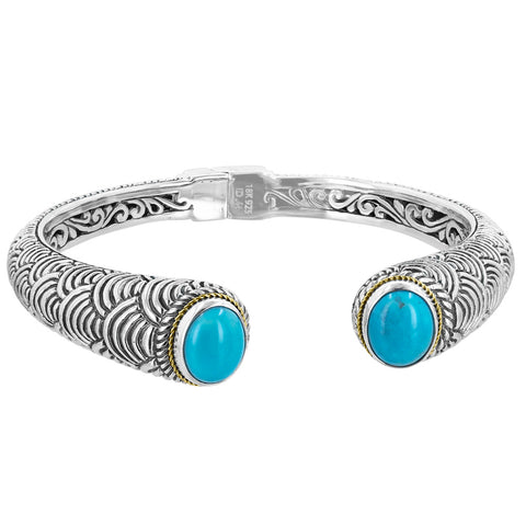 Scalloped Patterned Hinge Cuff with Turquoise