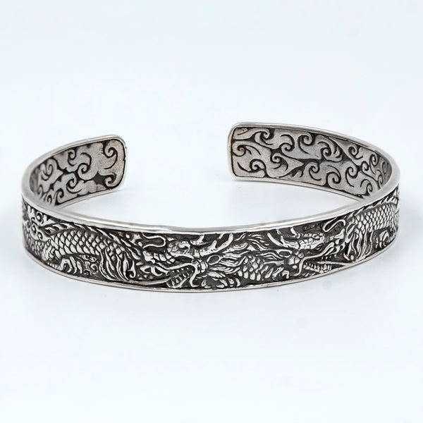 Bali Sterling Silver Men's Dragon Motif Scroll Cuff Braclet
