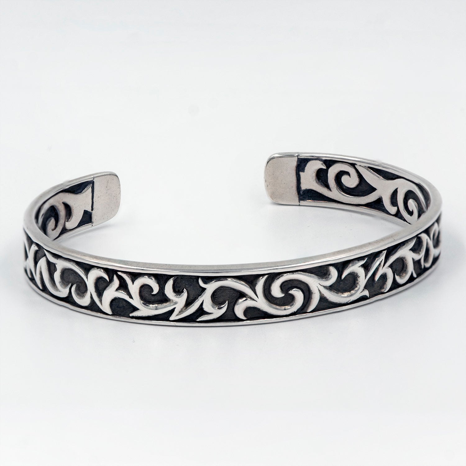 Men's Sterling Silver Tribal Motif Cuff Bracelet