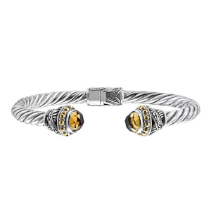 Sterling Silver Citrine Bali Cuff Cable Bracelet with 18K Gold Accents