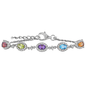 Multi Gemstone 5 Station Bracelet
