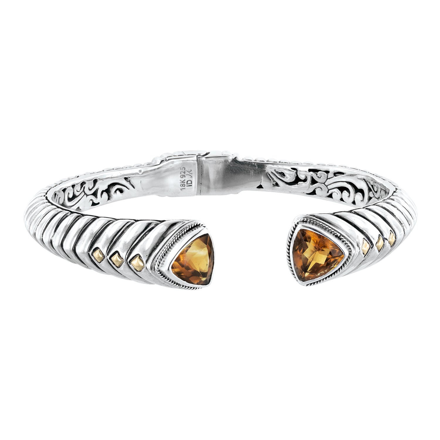 Bali Hinged Sterling Silver Trillion Madeira Citrine Ribbed Cuff Bracelet with 18K Gold Accents