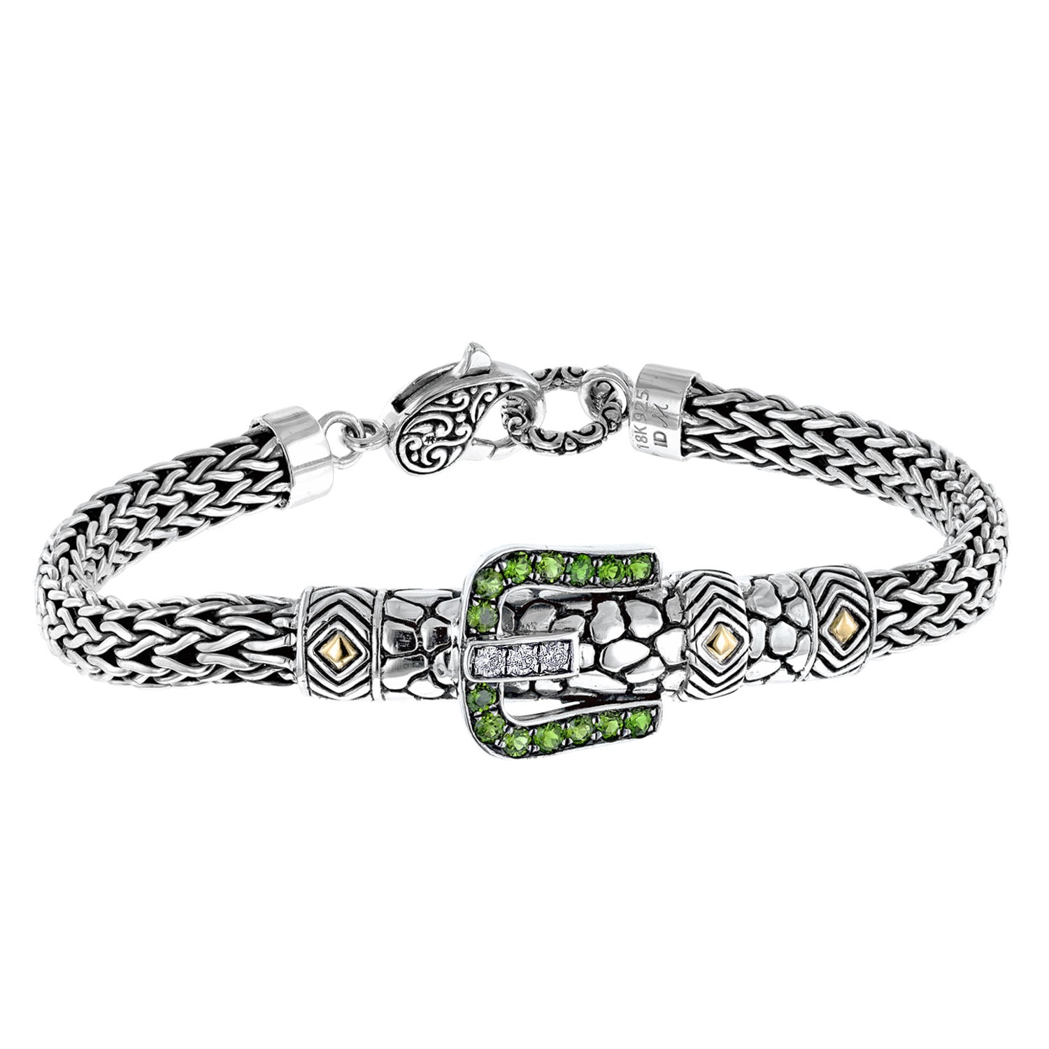 Bali Sterling Silver Gemstone and Diamond Buckle Rope Bracelet with Lobster Clasp and 18K Gold Accents