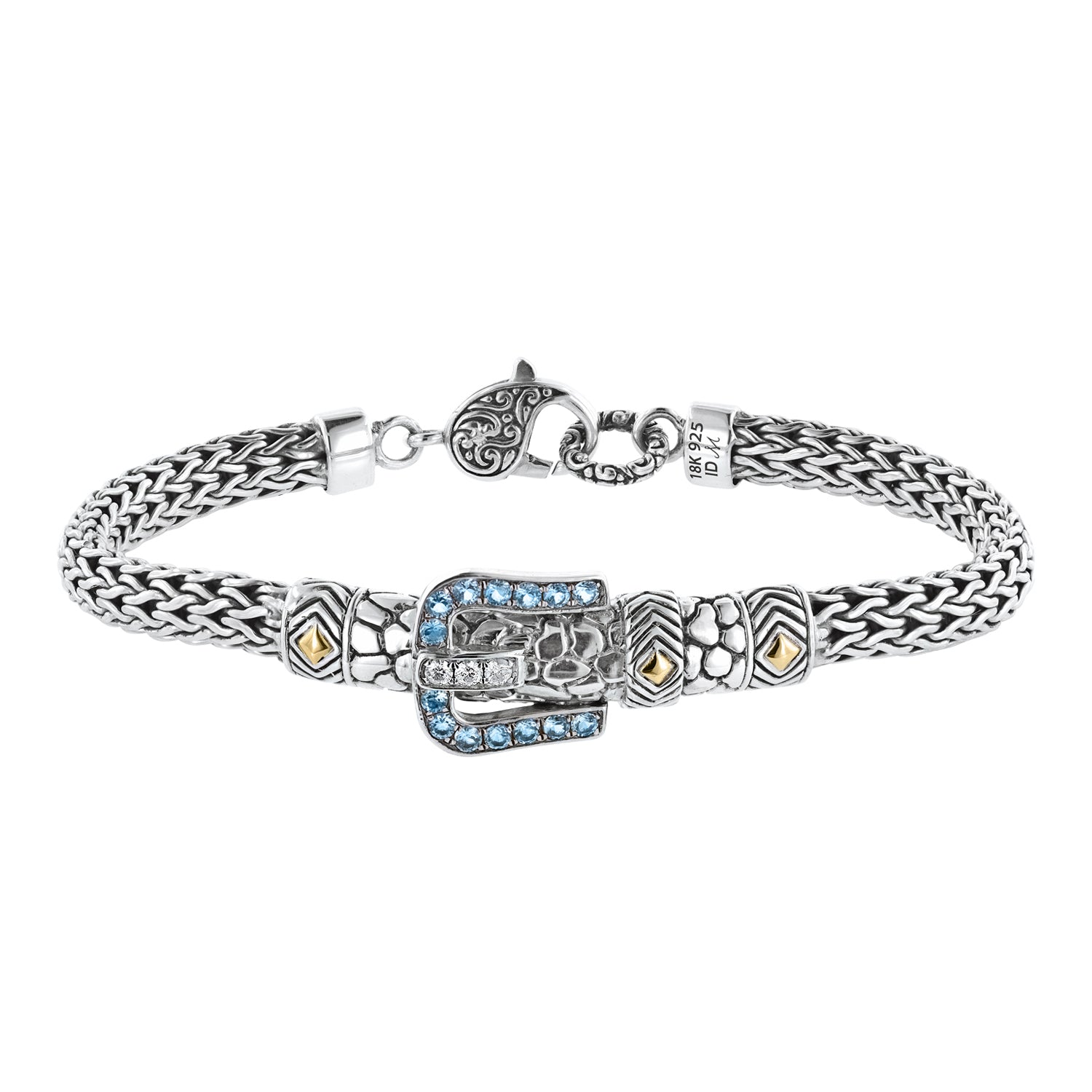 Bali Sterling Silver London Blue Topaz and White Zircon Buckle Rope Bracelet with Lobster Clasp and 18K Gold Accents