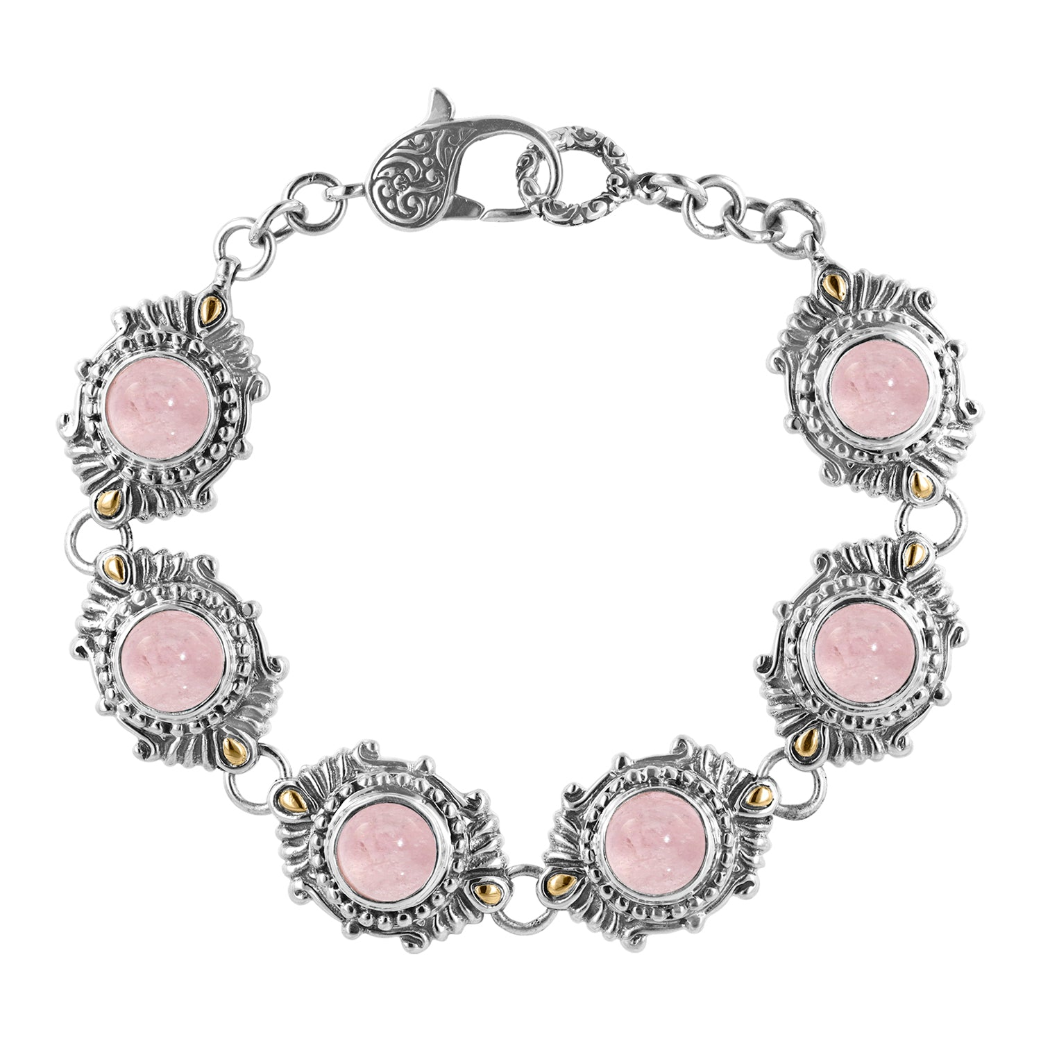 Bali Sterling Silver Morganite Station Bracelet with 18K Gold Accents
