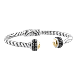 Sterling Silver Bali Cable Cuff Hinged Bracelet with 18K Gold Dome and Pave Black Spinel