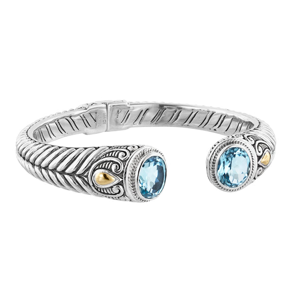 Sterling Silver Bali Herringbone Hinged Cuff Bracelet with Sky Blue Topaz and 18K Gold Accents