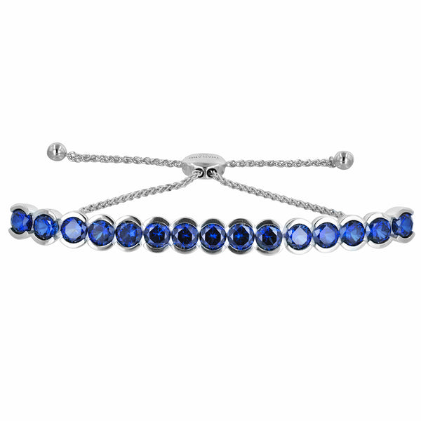 Channel Set Round Gemstone Bolo Bracelet - More Colors
