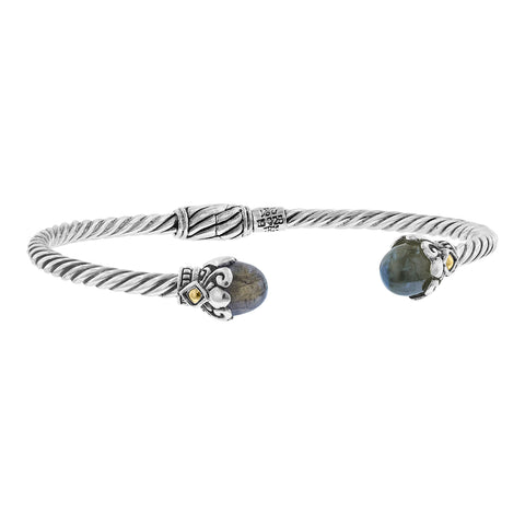 Sterling Silver Bali Hinged Cable Cuff with Domed Labradorite and 18K Gold Accents