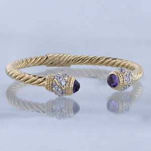 Gold Vermeil Cable Cuff Hinged Gemstone Bracelet
