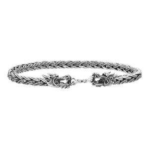 Bali Men's Sterling Silver Woven Dragon Head Bracelet