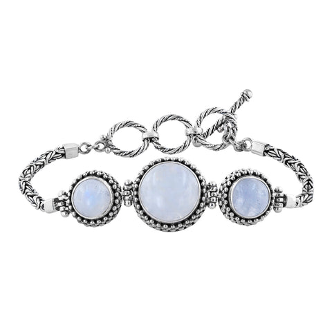 Sterling Silver Moonstone Station Toggle Bracelet