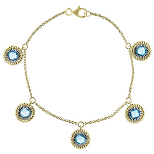 Gold Plated Chain Bracelet with Blue Topaz Drops