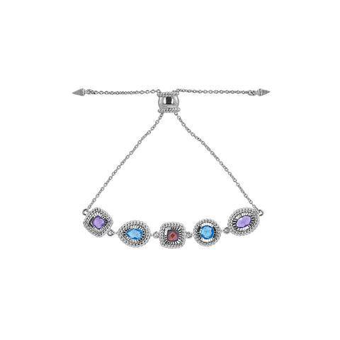 Multi Color and Shape Gemstone Silver Bolo Bracelet