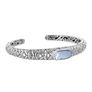 Bali Sterling Silver Cuff Bracelet with Mother of Pearl Scalloped Patern and Filigree