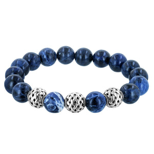 Sodalite Men's Gemstone and Sterling Silver Beaded Bracelet