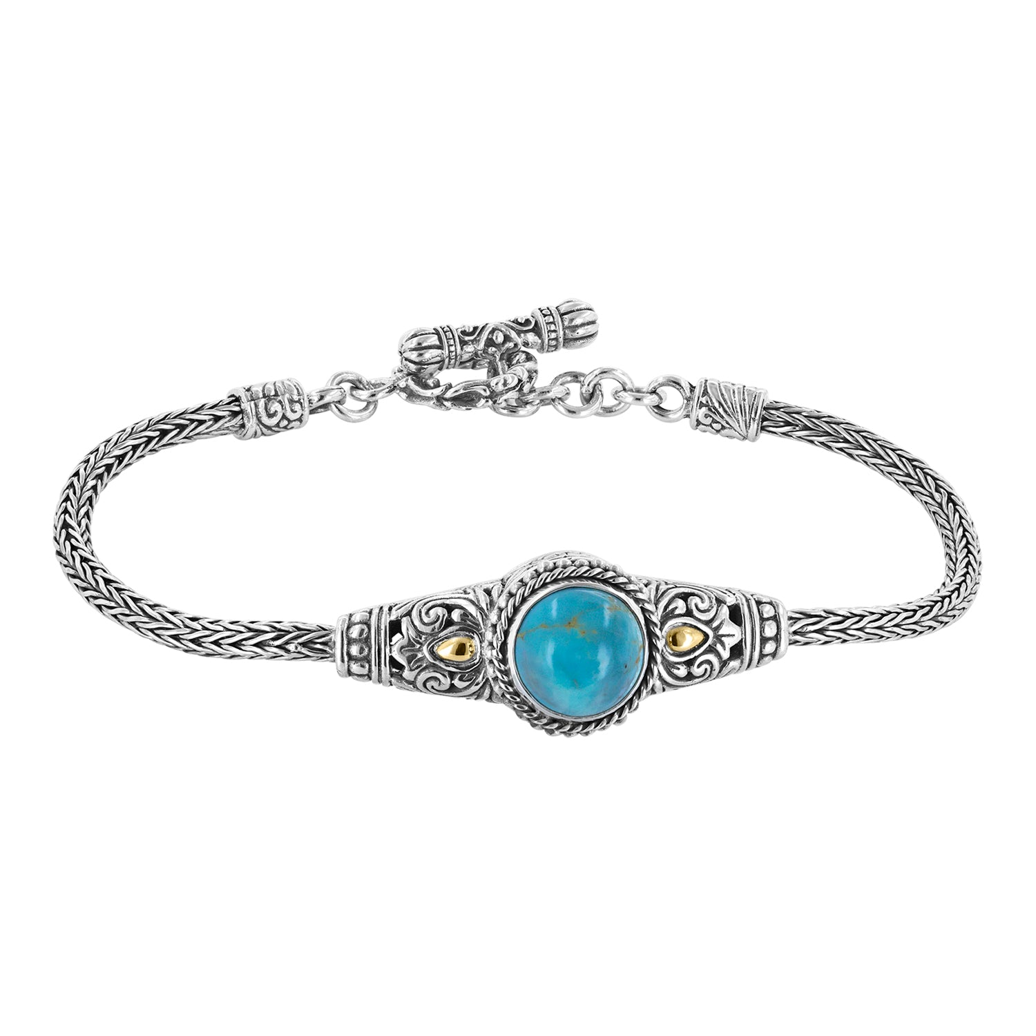 Bali Turquoise Scroll and Weave Band Toggle Bracelet