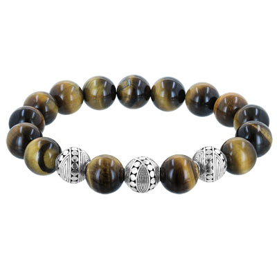 Bali Men's Brown Tiger's Eye Three Sterling Silver Bead Stretch Bracelet