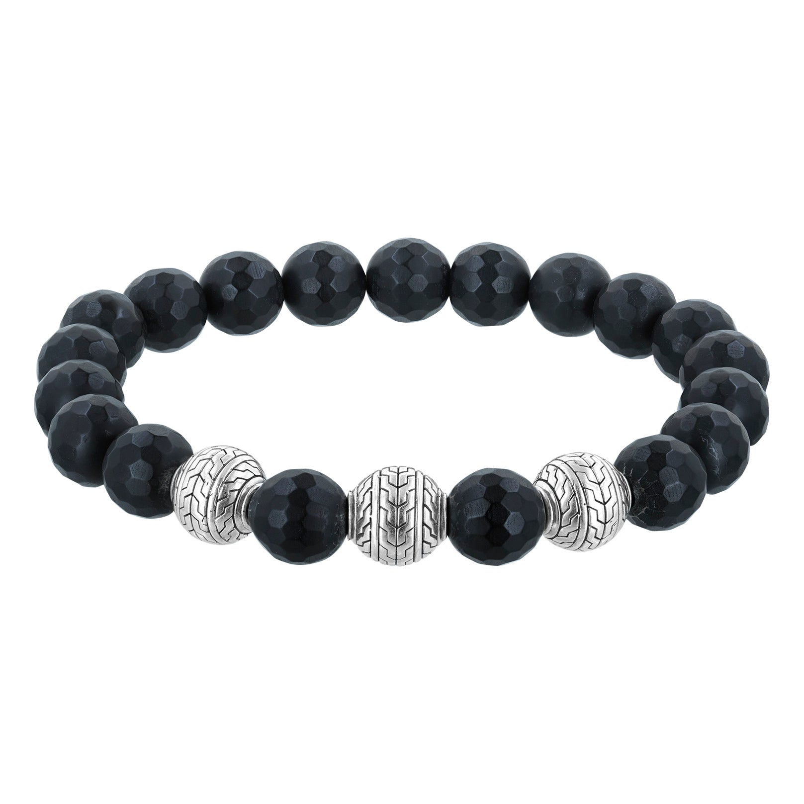 Bali Men's Faceted Frosted Black Onyx and Sterling Silver Beads Stretch Bracelet