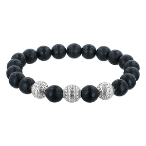 Frosted Onyx Beaded Bracelet Sterling Silver