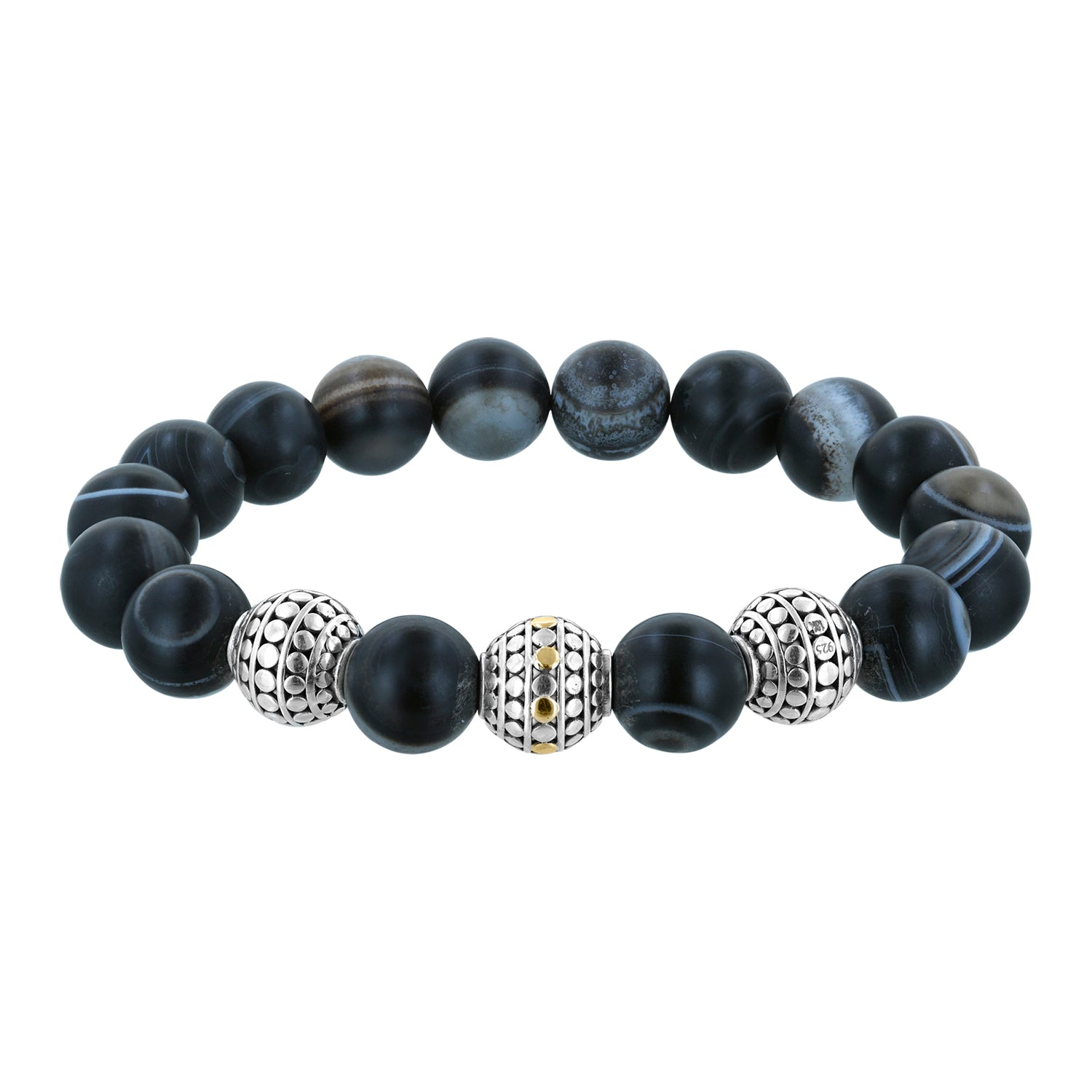 Stretch Black Line Agate Sterling Silver Beaded Bracelet with 18K Gold Accents