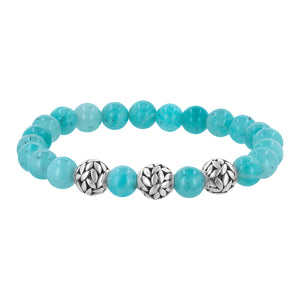 Amazonite and Sterling Silver Beaded Stretch Bracelet